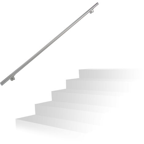 Relaxdays Handrail, Brushed Stainless Steel, Between 200 cm, Banister with Wall Holders and Metal Screws, Grey