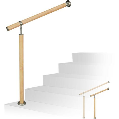 Relaxdays Handrail, In- & Outdoor Use, Ø 42 mm, 90 cm Tall, Wood Look, Aluminium & Stainless Steel, 150 cm Long, Brown