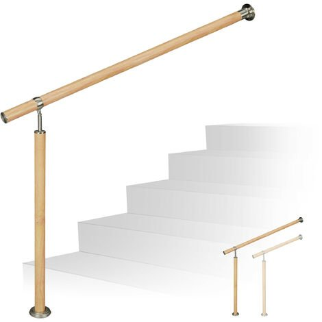 Relaxdays Handrail, In- & Outdoor Use, Ø 42 mm, 90 cm Tall, Wood Look, Aluminium & Stainless Steel, 80 cm Long, Brown