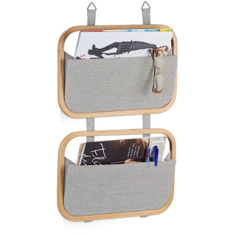 Relaxdays Hanging Bamboo Organizer with 2 Storage Compartments, For Doors and Wall, HWD: 60 x 40 x 1.5 cm, Natural/Grey