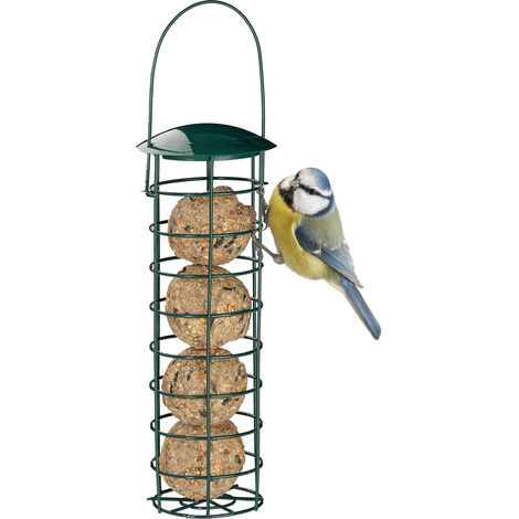 Relaxdays Hanging Bird Fat Ball Holder, Wild Bird Feeder, Silo with Roof, Iron, 31 cm, Dark Green