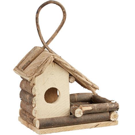 Relaxdays Hanging Bird House, Classic Wooden Birdhouse, Decorative Nesting Box, Natural