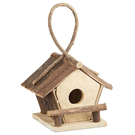 Relaxdays Hanging Bird House, Small Bird Hotel Made of Untreated Wood, Handmade Decorative Nesting Box, Natural