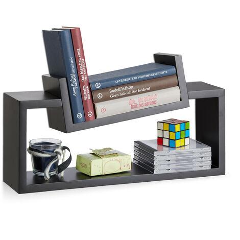 Relaxdays Hanging Bookshelf Set of 2, Modern Wooden Spice Rack, Slanted, Floating Bookcase, Black