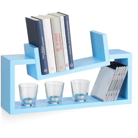 Relaxdays Hanging Bookshelf Set of 2, Modern Wooden Spice Rack, Slanted, Floating Bookcase, Blue