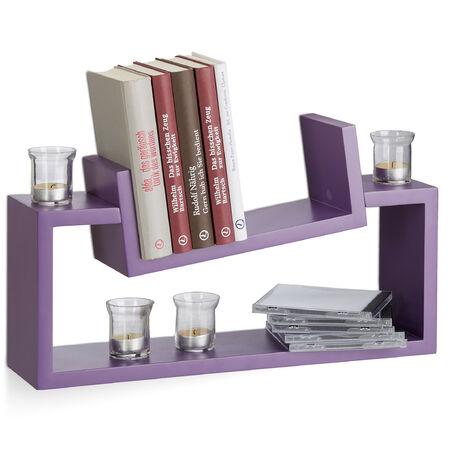 Relaxdays Hanging Bookshelf Set of 2, Modern Wooden Spice Rack, Slanted, Floating Bookcase, Purple