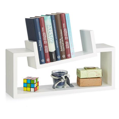Relaxdays Hanging Bookshelf Set of 2, Modern Wooden Spice Rack, Slanted, Floating Bookcase, White