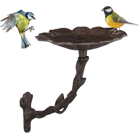 Relaxdays Hanging Cast Iron Bird Bath, Garden Decor, Petal, Bird Feeder, Water Bowl, Wild Bird Feeder, Brown
