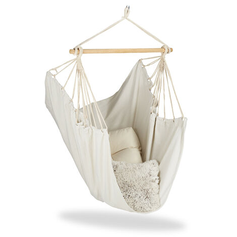 Relaxdays Hanging Chair. Modern Cotton Swing Seat, For Adults & Children, In- & Outdoor Use, Max. 150 Kg, Beige