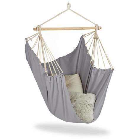 Relaxdays Hanging Chair. Modern Cotton Swing Seat, For Adults & Children, In- & Outdoor Use, Max. 150 Kg, Grey