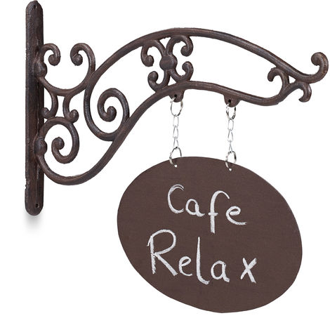 Relaxdays Hanging Chalkboard Sign, Antique Design, Notes, Messages, Cast Iron, Jib, For Bar/Entrance, Brown