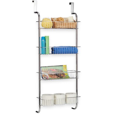 Relaxdays Hanging Chrome Rack, Wall-Mounted Bathroom Shelf, Metal Bathroom Rack, Door Rack Kitchen, HWD: 112x45x23 cm, Silver