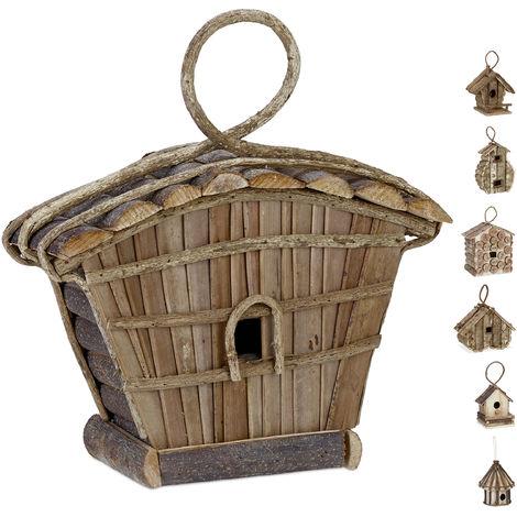 Relaxdays Hanging Decor Birdhouse, Untreated Wood, Balcony, Patio, Garden, Nesting Aid, 29 x 27 x 11 cm, Natural