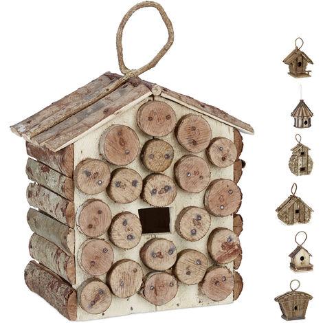 Relaxdays Hanging Decor Birdhouse, Untreated Wood, Balcony, Patio, Garden, Nesting Aid, 34 x 23.5 x 16 cm, Natural