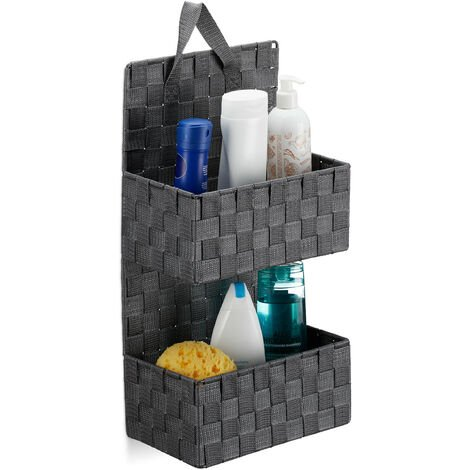 Relaxdays Hanging Fabric Organiser, 2 Compartments, Loop for Hanging, Bathroom Door Caddy, PP, HWD: 48x25x15cm, Grey