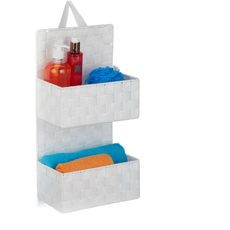 Relaxdays Hanging Fabric Organiser, 2 Compartments, Loop for Hanging, Bathroom Door Caddy, PP, HWD: 48x25x15cm, White