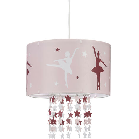 Relaxdays Hanging Lamp for Girls, Children's Ceiling Light with Ballerina Print, Pendant Light with Star-Mobile, Pink