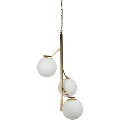 Relaxdays Hanging Lamp GLOBI with 3 Globes, Chain, Modern, Sphere Light, Metal, Frosted Glass, HxWxD: 147x42x42 cm, White/Gold