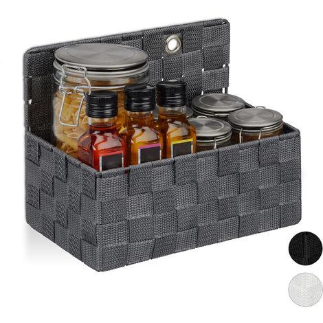 Relaxdays Hanging Storage Basket, Bathroom Organiser Box, Hallway, Bedroom, Sorter HxWxD 20x25x15 cm, Grey