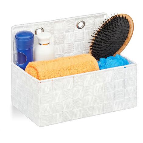 Relaxdays Hanging Storage Basket, Bathroom Organiser Box, Hallway, Bedroom, Sorter HxWxD 20x25x15 cm, White