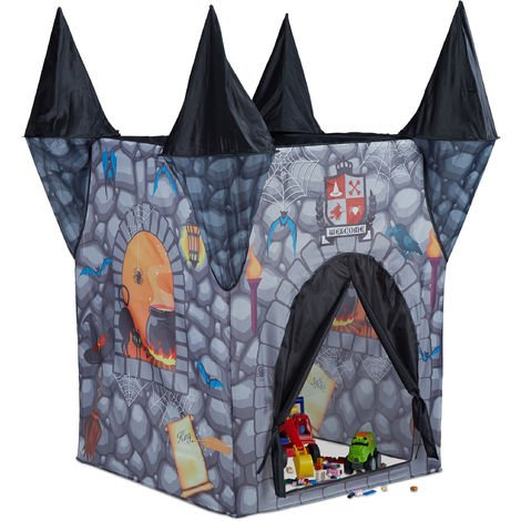 Relaxdays Haunted Castle Play Tent, Spooky Playhouse for Girls and Boys, Age 3 and Up, HxWxD: 132 x 110 x 110 cm, Grey