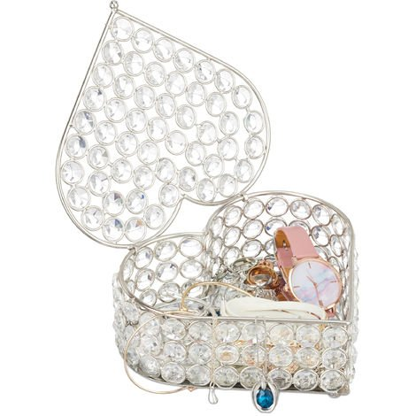 Relaxdays Heart Jewellery Box, Glamorous Crystal Design, Mirrored Floor, Lidded Storage Chest, HxWxD 7x17x16 cm, Silver