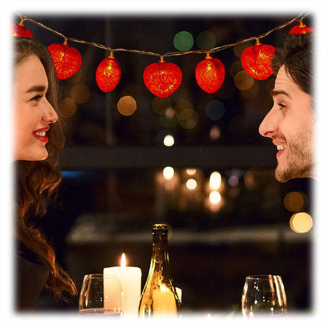 Relaxdays Heart String Light, 10 LEDs, Battery-Powered, Romantic Indoor Lighting for Various Occasions, 170 cm, Red