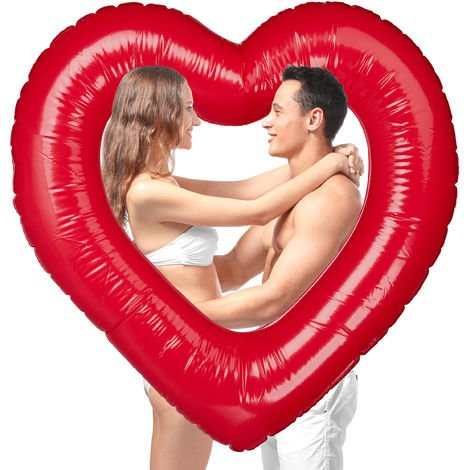 Relaxdays Heart Swim Ring, Inflatable Heart-shaped Swimming Ring, For Weddings & Valentine's Day, Decor Or Gift, Red