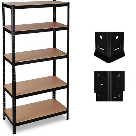 Relaxdays Heavy Duty Shelf Unit, 5 Tiers, Capacity 1325 kg, Modular Cellar Shelves, HWD 180x90x60 cm, Metal/MDF, Black