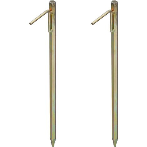 Relaxdays Heavy Duty Tent Stakes Set of 2, For Rocky Terrain, 51 cm, Camping Accessory, Galvanized Steel, Yellow