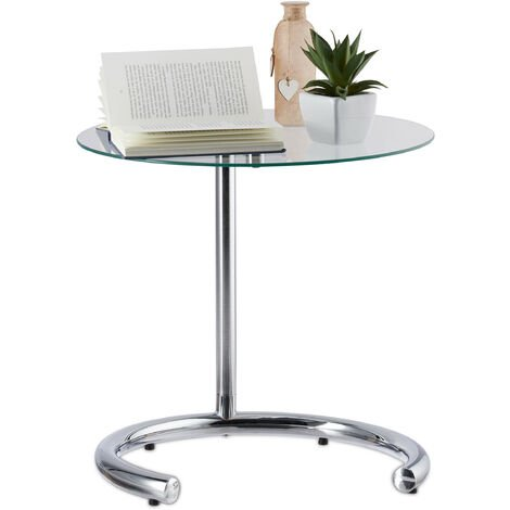Relaxdays Height-Adjustable Coffee Table 70 cm, Round Living Room Stand, Chromed Steel, Glass Top 46 cm Ø, Silver