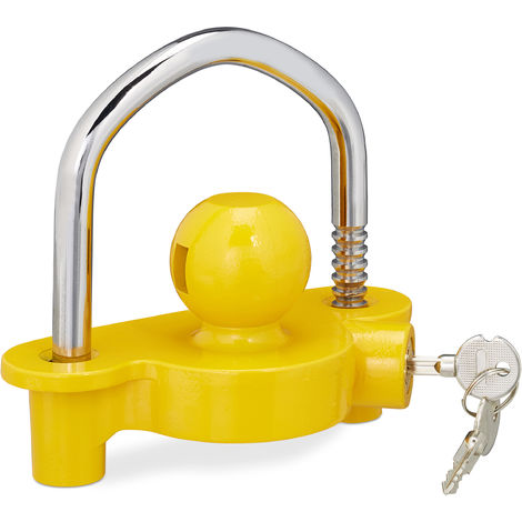 Relaxdays Hitch Lock Trailer Ball, Anti-theft For Common Coupling, 2 Keys, Solid, Trailer Security, Yellow