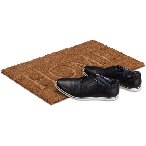 Relaxdays Home Coir Doormat, HxWxD: 1.5 x 60 x 40 cm, Non-Slip, for Indoors and Outdoors, Coconut Fibre, PVC, Natural