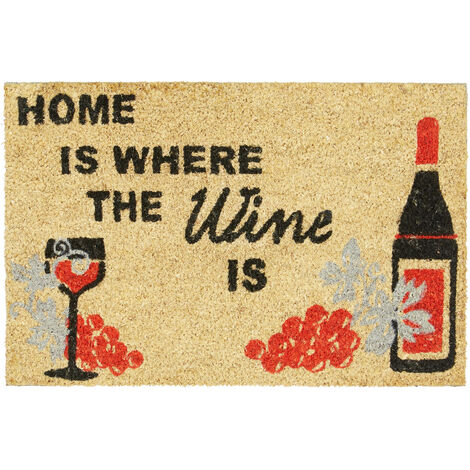 """Relaxdays """"Home Is Where the Wine Is"""" Doormat Coir Floor Mat 40 x 60 cm with Anti-Slip PVC Underside, Coconut Fibre Wine-Lovers Welcome Mat, Natural Brown"""