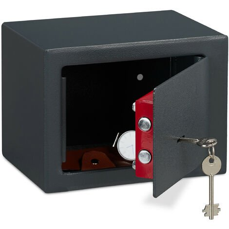 Relaxdays Home Safe With Keys, Double-bit Lock, Fix To Wall/Floor, Mini Vault, HWD: 17 x 23 x 17 cm, Grey