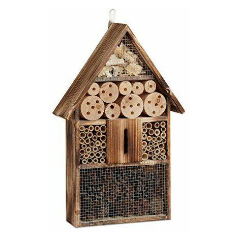 Relaxdays Hôtel à insectes en bois brûlé 50 cm à suspendre abri abeille refuge papillon grillage, nature