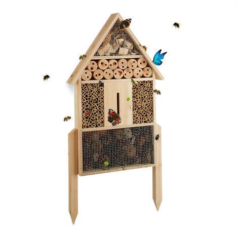 Relaxdays Hôtel à insectes nature L abri refuge maison abeille papillon coccinelle HxlxP: 60,5 x 37 x 9 cm, nature