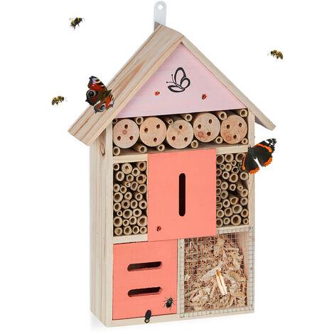Relaxdays Hôtel à insectes, Nid pour abeilles sauvages & coccinelles, jardin, balcon, refuge, 40 x 28 x 9 cm, nature