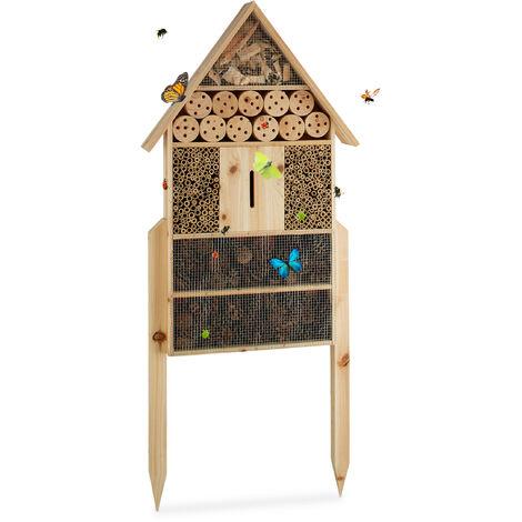 Relaxdays Hôtel à insectes sur pied nature XXL abri refuge nichoir maison abeille papillon coccinelles HxlxP: 79 x 49 x 13 cm, nature