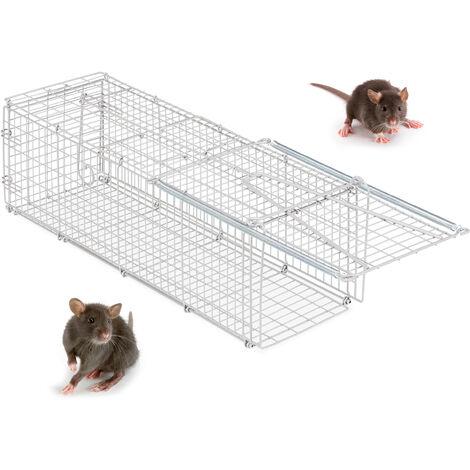 Relaxdays Humane Bait Trap, For Mice, Rodents etc, Sturdy & Animal Friendly, HWD 32x24.5x62 cm, Silver