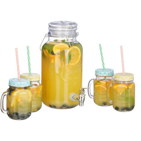 Relaxdays Iced Beverage Dispenser Set, 4 L, 4 Glasses, Tap, Retro Gastro Juice Dispenser with Straws, Transparent