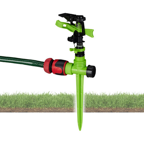 Relaxdays Impact Circle Sprinkler, Watering of Large Areas up to 150 m², 7 m Reach, 360°, Irrigation, Green-Black