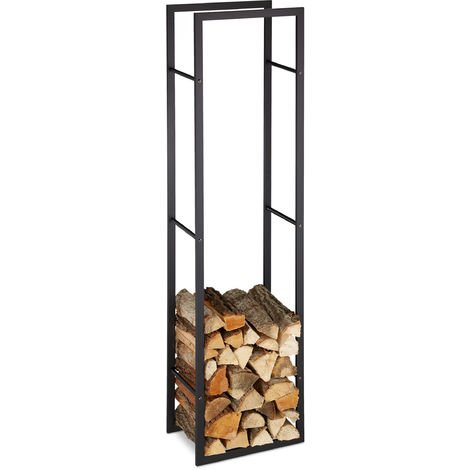 Relaxdays Indoor Firewood Rack, Tall Log Storage Shelf for Fireplace & Oven, Steel, HxWxD: 170x44.5x30 cm, Black