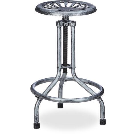 Relaxdays Industrial Bar Stool, Height-Adjustable, Swivel, Retro, Outdoor, Metal, HxWxD: 93 x 43 x 43 cm, Grey/Silver