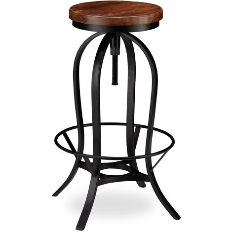 Relaxdays Industrial Barstool, Swivel Bar Seat, Vintage Chair, Iron & Wood, Height-Adjustable to 76.5 cm, Black/Brown