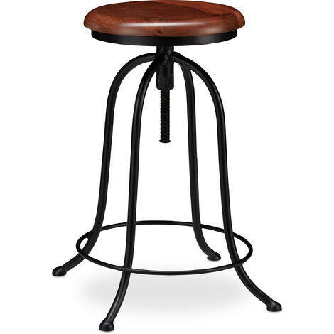 Relaxdays Industrial Barstool, Swivel Bar Stool, Round Vintage Seat, Height Adjustable up to 65 cm, Black/Brown