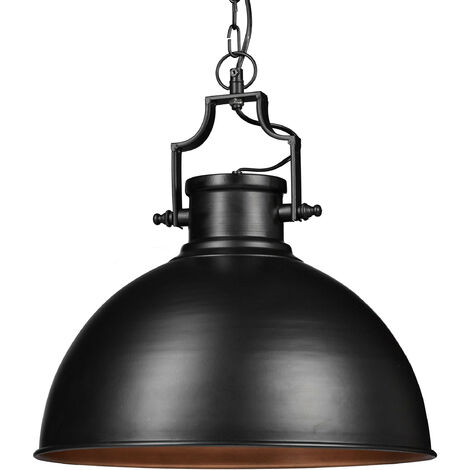 """main image of """"Relaxdays Industrial Design Pendant Light in Shabby Look, Decor for Dining Room, LED, Hanging Lamp, D=40.5 cm, Black"""""""