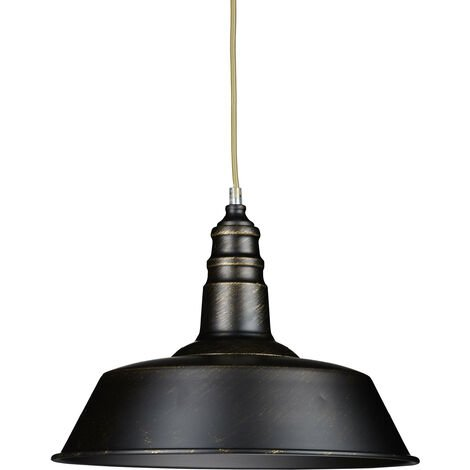 Relaxdays Industrial Lamp Black Lampshade - Vintage Retro Look for Loft - Brass and Wood Lamp, E 27 Lightbulb Adjustable Height