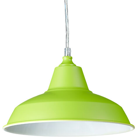 Relaxdays Industrial Pendant Light in Trendy Colours, Size: 112 x 28 x 28 cm Modern Metal Pendant Lamp in Colourful Design as Creative Haning Lamp Height Adjustable Ceiling Light, Green