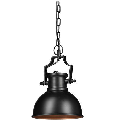 """main image of """"Relaxdays Industrial-Style Pendant Light, Retro-Shabby Look, Decor for Dining Room, LED, Hanging Lamp, D=21cm, Black"""""""